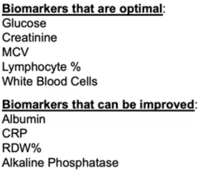 Levine biomarkers